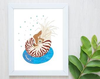 PRE-ORDER-Nautilus Print-Chambered Nautilus-Ocean Decor-Nursery Wall Art-Swimming Pool Print-Nautilus Art-Nautilus Wall Art-Nautilus Gift