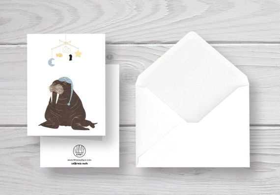 Christmas holiday cards walrus card wenvelope whimsical blank inside animal 5x7 funny cards kids card Winter Walrus greeting card