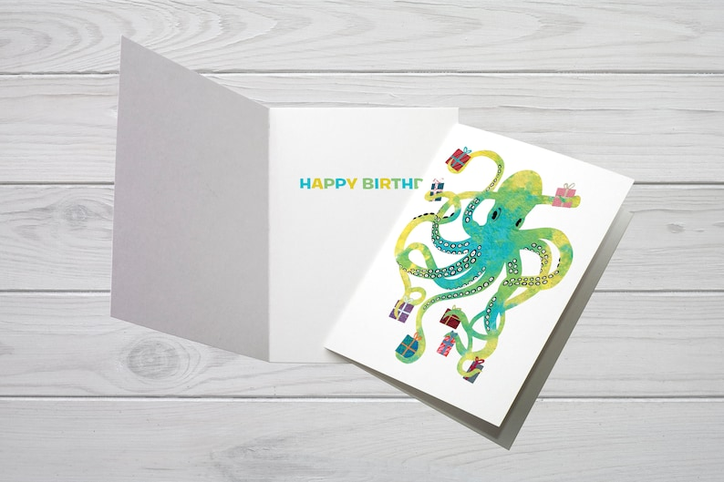 Birthday Card Happy Octopus Presents