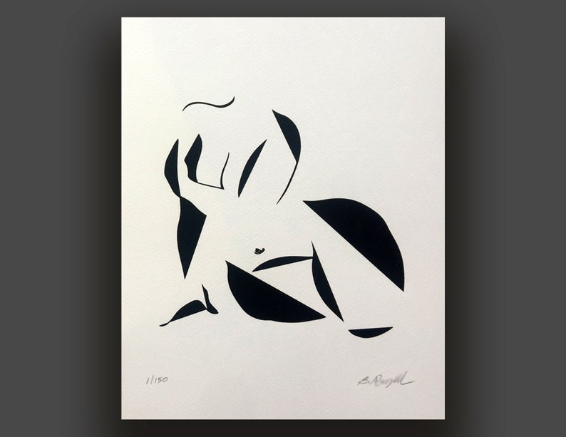 Sexy Abstract Nude Full Figured Black and White Art Plus image 0