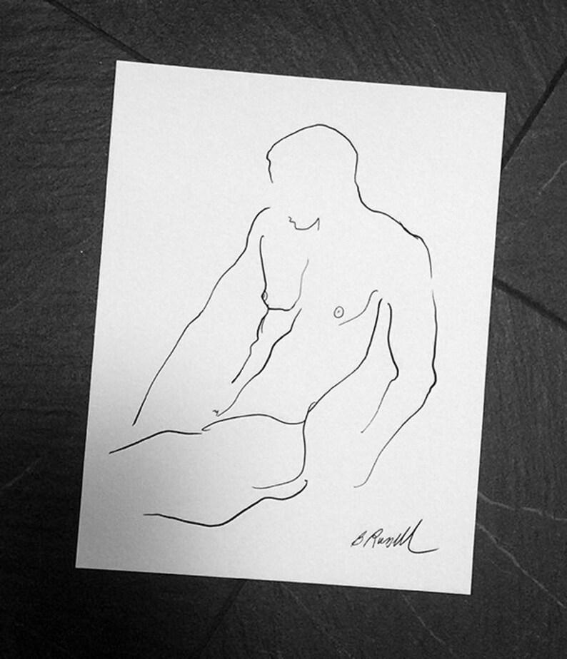 Male Nude Line Drawing Minimalist Art Ink Art Black and image 0