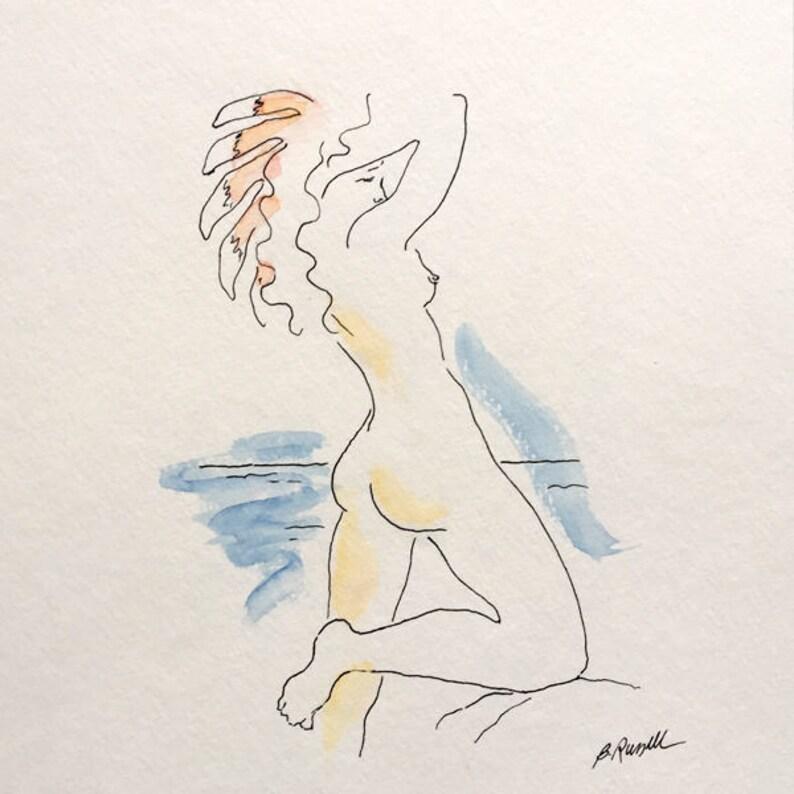 Original Watercolor Nude  Mythological Goddess Art Art Deco image 0