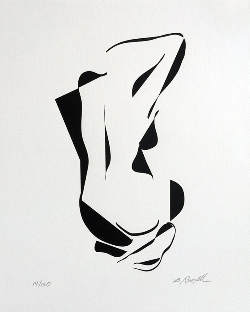 Abstract Nude Mid Century Modern ArtBlack and White Art Mod image 0