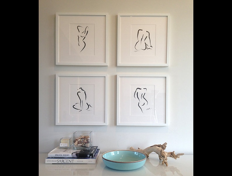 4 Abstract Ink Nudes Black & White Art Expressionist Modern image 0
