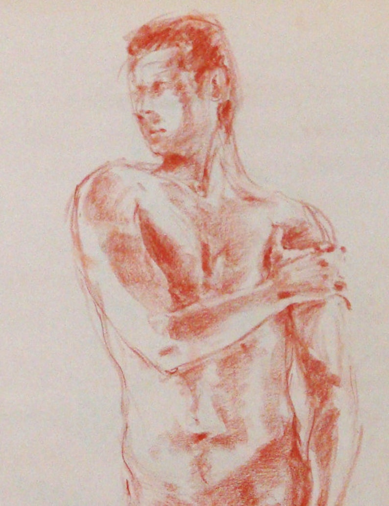 Large Male Nude Original Life Drawing in Sienna Conte image 0