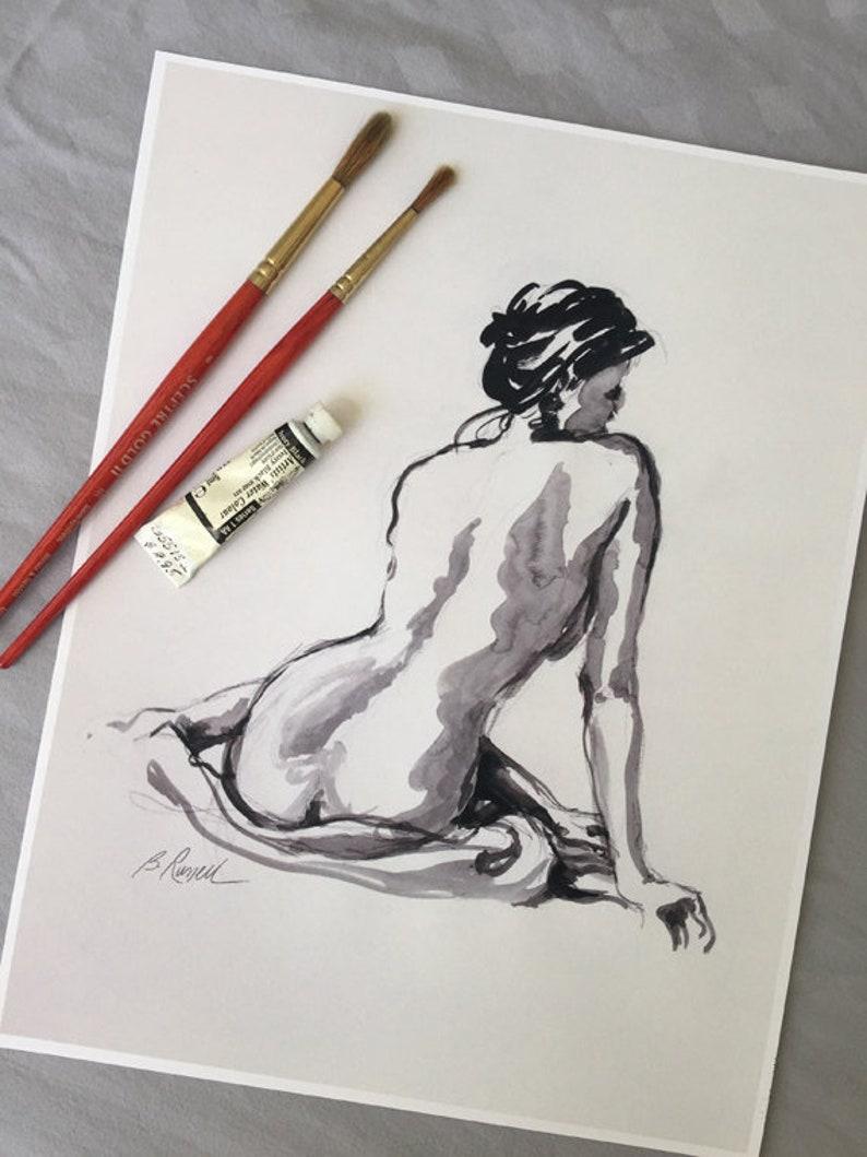 Female Nude Watercolor Nude Print Figurative Art Black and image 0