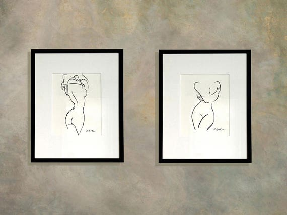 Two Minimalist Nude Prints Line Drawing Matisse Inspired | Etsy