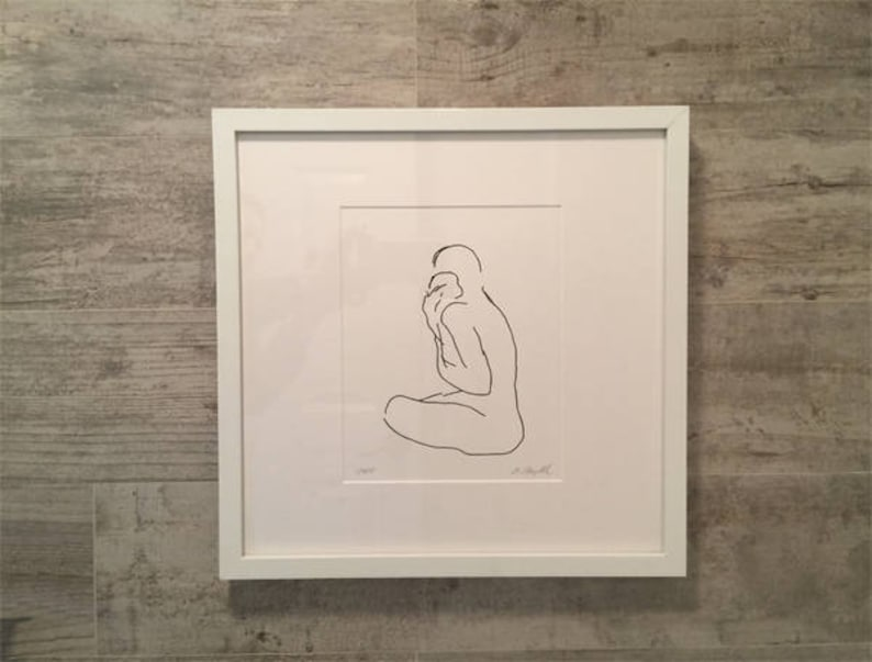 Minimalist Line Art Mother with Baby Line Drawing Art image 0