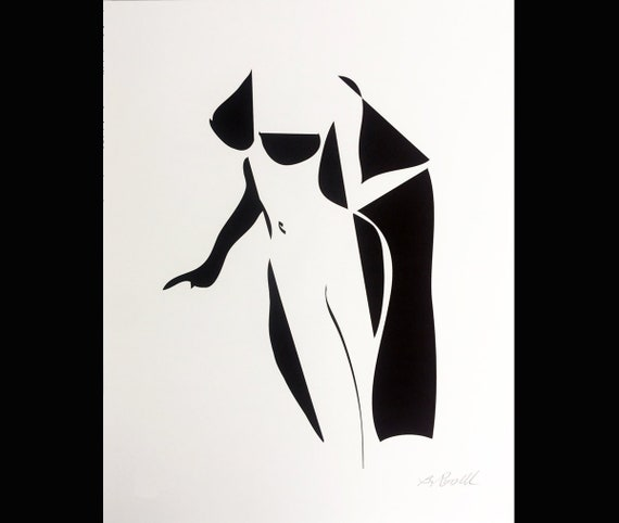 Abstract Female Nude Black And White Ink Drawing Modern Nude Art Mod Art Pop Art Nude Harlequin Limited Edition Print Graphic Art