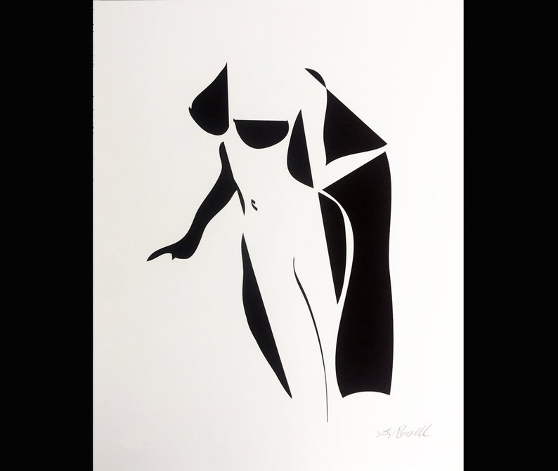 Abstract Female Nude Black and White Ink Drawing Modern Nude image 0