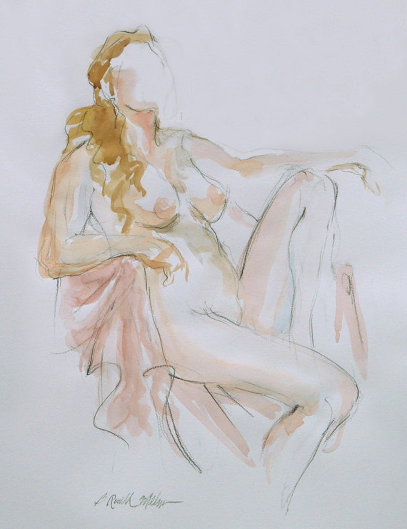 Impressionist Watercolor Curvy Woman Female Nude Painting image 0