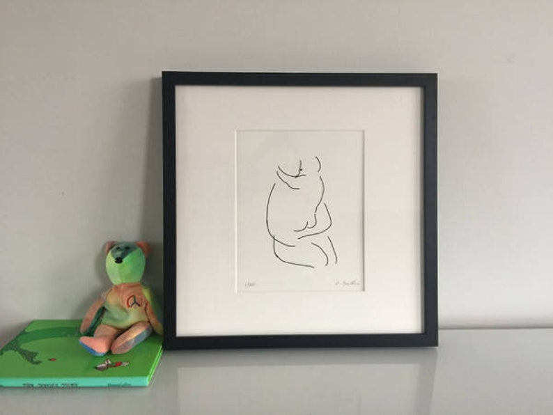 Nursery Wall Art Mother and Child Line Drawing Signed image 0