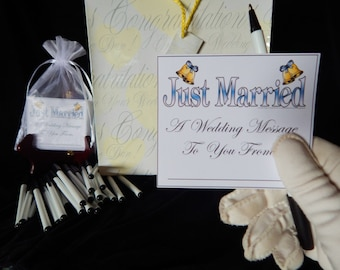 25 Wedding Advice Cards ALL IN ONE Set, Keepsake Bag, Cards a Special Wedding Card and Pens