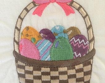 Embroidered Flour Sack Kitchen Tea Towel Easter Basket Free Personalization