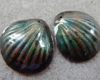 Enamel Jewelry Findings: Clam Shell Pair 2018 F-478