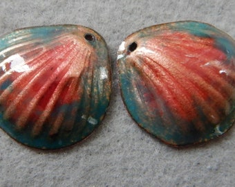 Enamel Jewelry Findings: Clam Shell Pair 2018 F-420