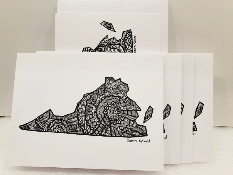 Virginia State notecards 3 designs pack of 5 blank any occasion special Virginia is for Lovers original art by Dawn