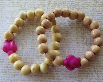 Hers/Hers Best Friends Girlfriends Matching Wood And Howlite Sea Turtle Stretch Bracelet