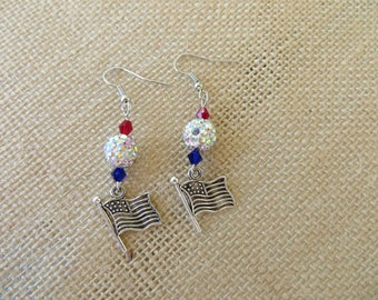 Red White And Blue Flag Charm Earrings