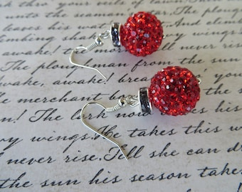 Festive Sparkly Red Christmas Ornament Bead Earrings