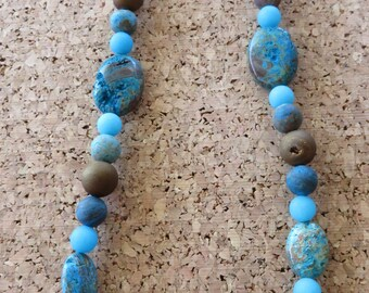 Blue Crazy Lace Agate And Bronze Druzy Agate Beaded Necklace 57N