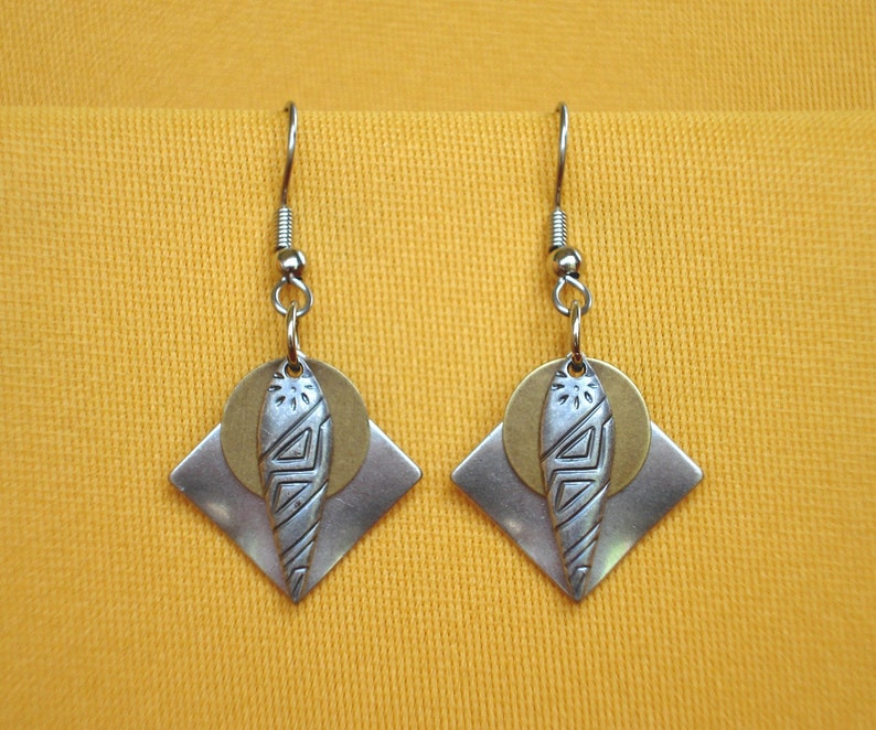 Queen of Sheba silver and gold earrings Style 238G image 0