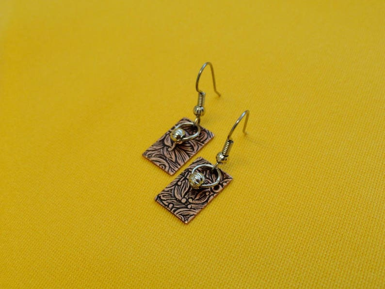 Ring around the rectangle antique copper earrings Style image 0