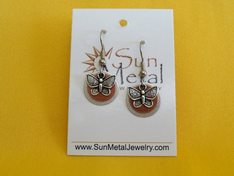 Butterflies are free to fly silver and copper earrings Style image 0