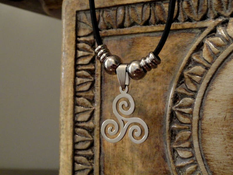 Stainless Steel Triple Spiral Necklace image 0