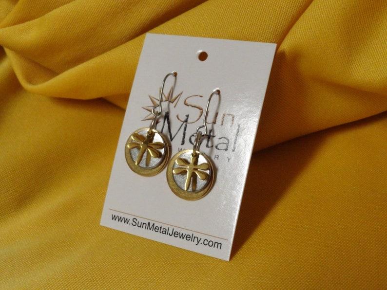 Golden glow dragonfly earrings Style 355 image 0