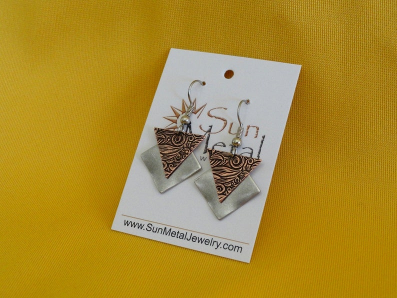 Girl power silver and copper earrings Style  299C image 0