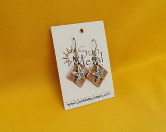 Starfish copper and silver earrings (Style #480)