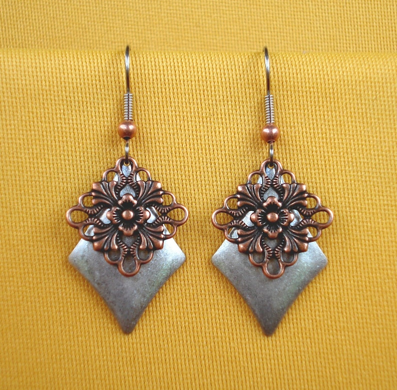 Silver and copper is a show stopper earrings Style 249C image 0