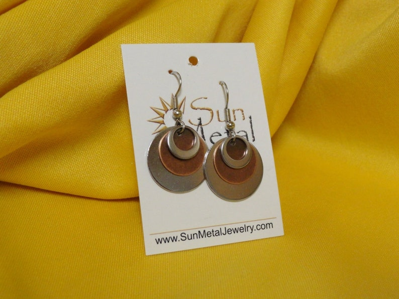 Karma stainless and copper earrings Style 243C image 0