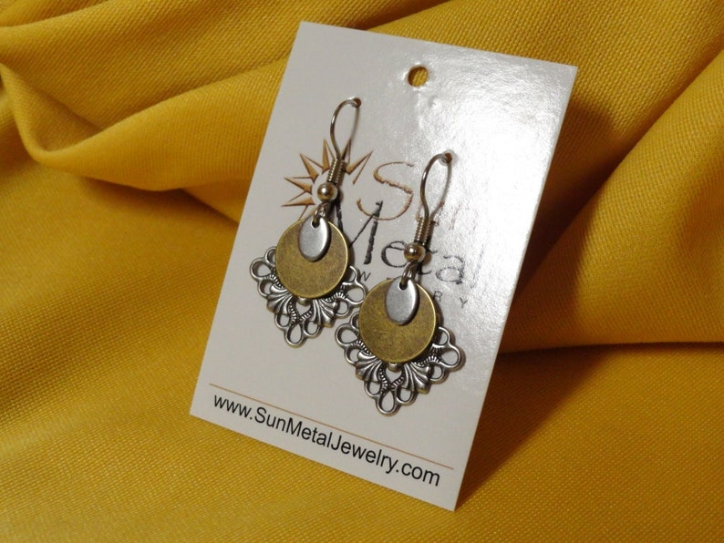 Silver and gold snowflake earrings Style 274G image 0