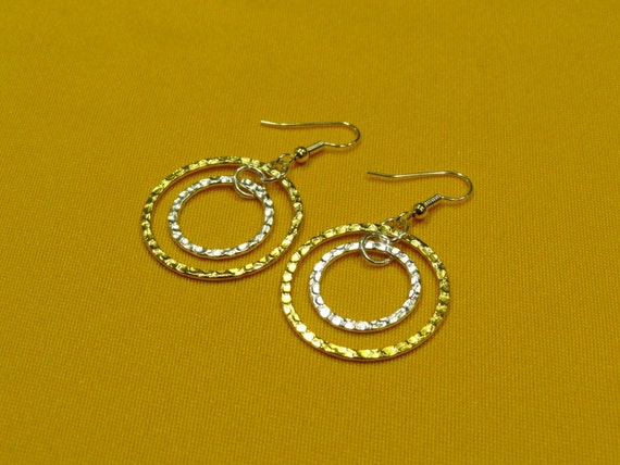 Style #342 Rings of fire gold and silver earrings