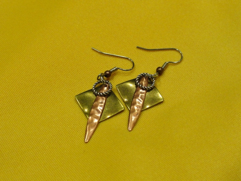 I'm too funky for my gold and copper earrings Style image 0