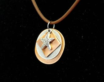 Starfish copper and silver pendant (Style #1480)
