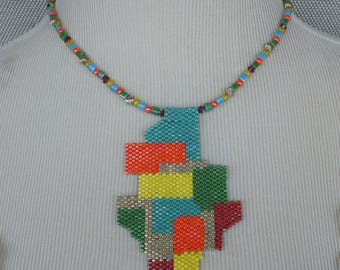 Beaded Patchwork Fun Necklace