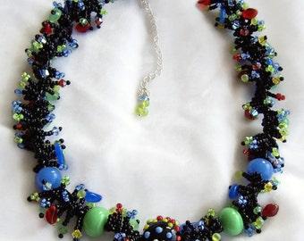 SALE- Black and Blue Fringe Necklace