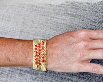 Really Red On Gold Beaded Bracelet