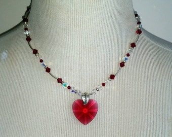 Rose Heart Silver & Crystal Necklace