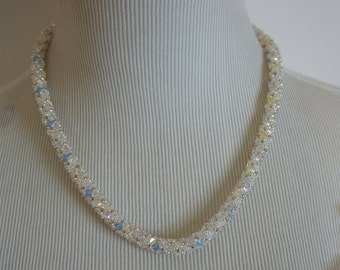 Swarovski Crystal Silver and Gold Rope Necklace