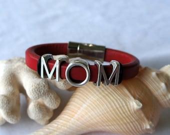 MOM- Red Regaliz Leather Bracelet