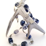 Long Denim Sodalite, Silver, and Moonstone beaded necklace
