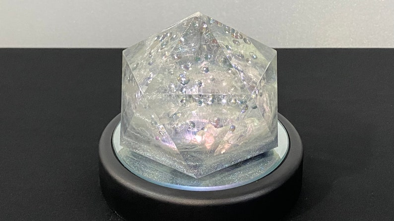 Multicolor LED Gem Night Light in Cast Resin with Faceted AB Crystals and Fiber Optic Wire