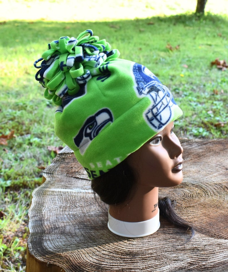 3033cc7e Seattle Seahawks Lime Green Pom-Pom Fleece Hat - Gift For Her - Football -  Unique Gift - Sports Team - Outdoors - Winter Hat - Green Hat