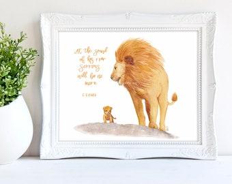 Aslan Art Print - Narnia Wall Art, Narnia Baby Art, C.S. Lewis Quote, Nursery Art Print, Lion cub painting, Watercolor Lion Art