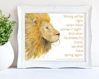 Aslan Art Print - Narnia Quote Wall Art, Christian Art, C.S. Lewis Quote, Nursery Art Print, Lion painting, Watercolor Lion Art