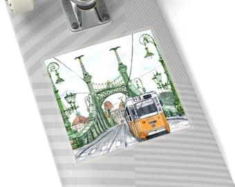 Budapest Hungary Liberty Bridge Vinyl Sticker - Hungary Souvenir, Travel Gift, Laptop Decal, City Trams